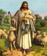 Jesus, der gute Hirte, mit seinen Schafen