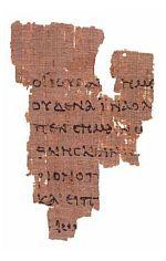 Papryus P52, ein kleiner Teil des Johannesevangeliums. Geschrieben um 125 n. Chr.